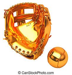 Sports in USA: golden baseball glove and ball