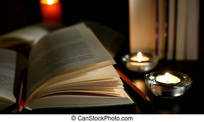 Books and candles and pencils