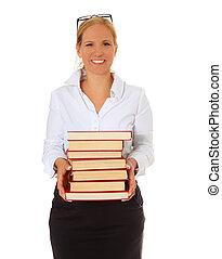 Librarian carrying pile of books. All on white background.