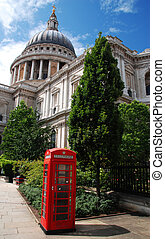 Saint Paul and a telephone booth - Saint Pauls Cathedral and...
