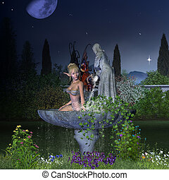 Nighttime Garden Fairy - Pretty blonde fairy taking a bath...