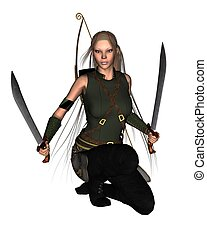 Female Warrior - 2 - Lightly armoured female warrior with...