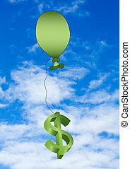 ballon and dollar sign with sky background