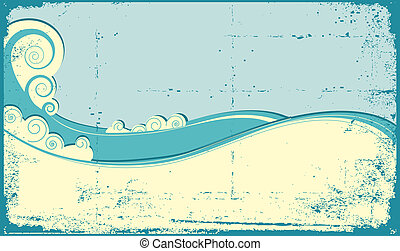 WAves background - Sea waves background Vintage illustration...