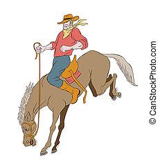 rodeo cowboy riding bucking horse bronco - illustration of...