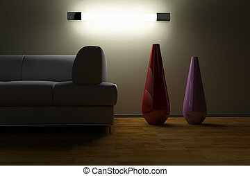 Sofa and vase in a dark room with a lamp