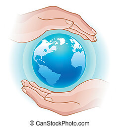 globe in hands - illustration of the glowing globe in human...