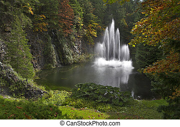 Sparkling jets of a fountain. - The fountain in the deep...