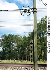 counterweight for the catenary above a railroad track