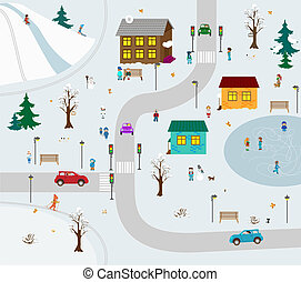 KIds town in winter. Vector illustration cartoon - Town of...