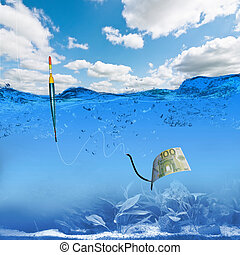 fish hook underwater with banknotes