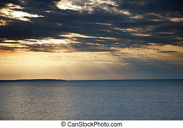 Sea and sunset - Horizontal photo of the ocean during...
