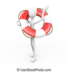 Lifesaver - 3D rendered Illustration Cartoon figure Isolated...