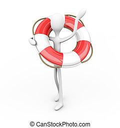 Lifesaver - 3D rendered Illustration. Cartoon figure...