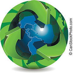 blue globe and green arrows
