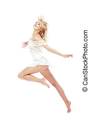 Dancing beauty - Beautiful blond lady dancing on a white...