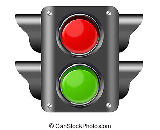 pedestrian light - black, red and green pedestrian ligt...