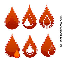 medic blood drop sign set red color isolated