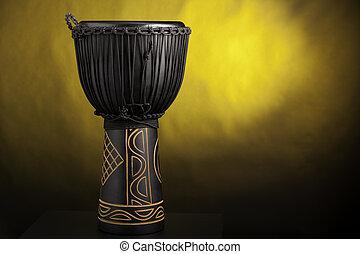 tambor,  Djembe, amarillo, aislado, negro, proyector
