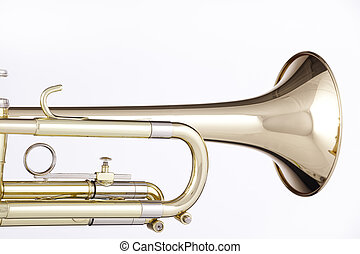 Gold trumpet cornet isolated on White - A gold and brass...