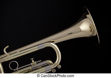 Gold trumpet cornet isolated on Black - A gold and brass...