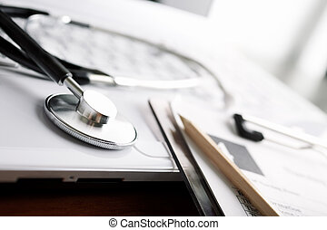 medicine - doctor's everyday items ,focus point on metal...