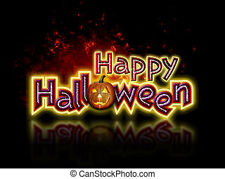 Happy Halloween and Pumpkin - Bright and colorful Happy...