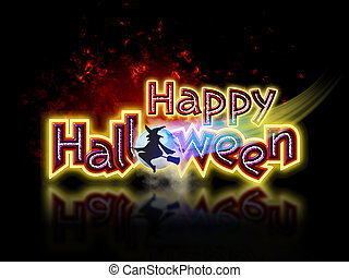 Happy Halloween and Witch - Bright and colorful Happy...