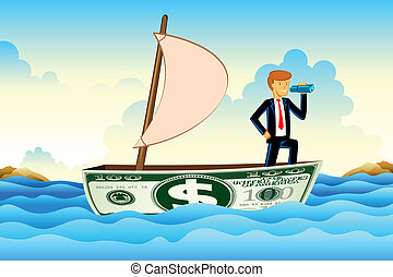 Businessman on Dollar Boat - illustration of business man on...