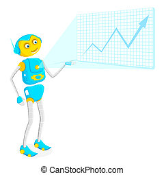 Robot giving Presentation - illustration of robot giving...