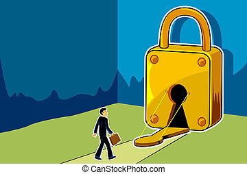 Scope for Business - illustration of businessman entering...