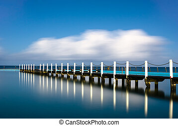 Narrabeen Tidal Pool Pier Reflection - Narrabeen is a famous...