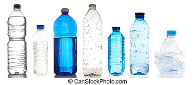 plastic bottles collection on a white background