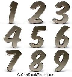3d metal numbers isolated on white background