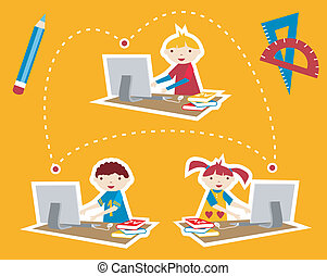 School social network communication - Children learning and...