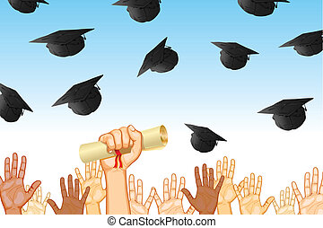 Graduation Day - illustration of graduates tossing mortar...