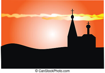 An orange sunset and orthodoxy church - Vector image. An...