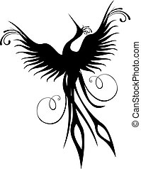 Phoenix bird figure isolated - Black phoenix bird figure...