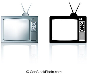old 1980s style metal portable tv - old style silver...