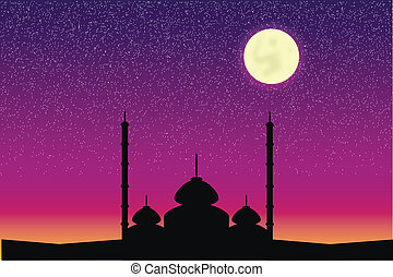 Silhouette of mosque in moon night