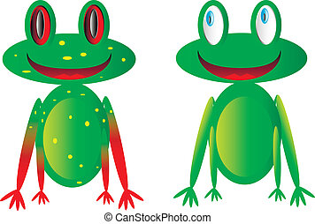 Vector happy frogs on white background