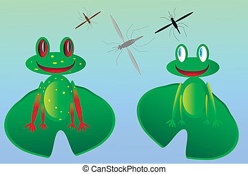 Two frogs and mosquitoes - two happy frogs and mosquitoes -...