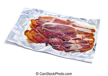 vacuum-packed serrano ham on a white background