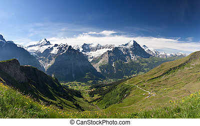 Eiger in Alps, Switzerland - Eiger, Schreckhorn and...