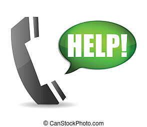 Phone with chat box asking for help Illustration design