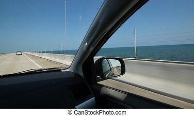 Driving Florida Keys - Driving on a causeway in the Florida...