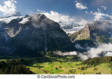 Schreckhorn in Alps, Switzerland