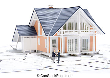 House agent sold building - concept represented by figures,...