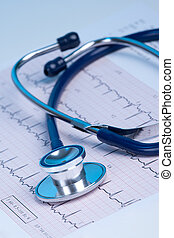 Medical concept - heart checkup - Part of stethoscope and...