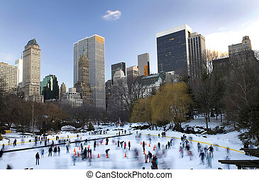 Central Park in winter - View of Central Park in front of...
